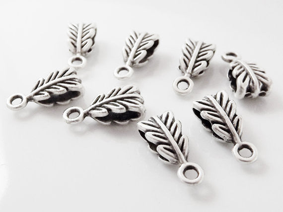 8 Mini Leaf Pendant Bails - Matte Antique Silver Plated