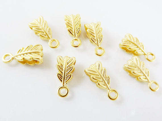 8 Mini Leaf Pendant Bails - 22k Matte Gold Plated