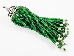 Long Emerald Green Beaded Tassel - Matte Silver Plated Brass - 1PC