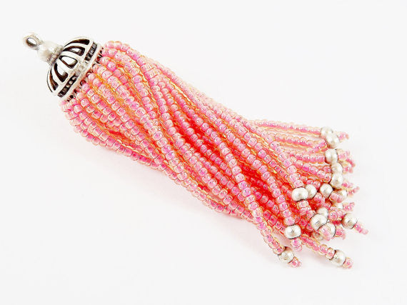 Long Salmon Pink Beaded Tassel - Matte Silver Plated Brass - 1PC