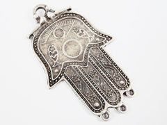 Large Evil Eye Sun Fish Flower Motif Hamsa Hand of Fatima Pendant with Loops - Matte Antique Silver Plated - 1PC