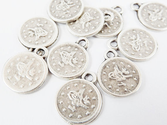 10 Large Round Chunky Coin Charms - Matte Silver Plated