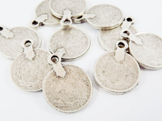 10 Large Rustic Round Thick Coin Charms - Matte Antique Silver Plated