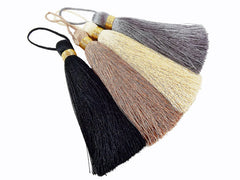 Extra Large Thick Black Thread Tassels - Gold Metallic Band - 4.4 inches - 113mm - 1 pc
