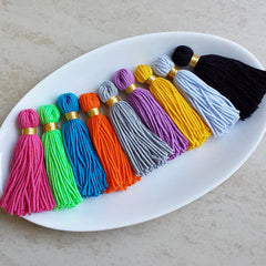 Long Gray Handmade Wool Thread Tassels - 3 inches - 75mm - 2 pc