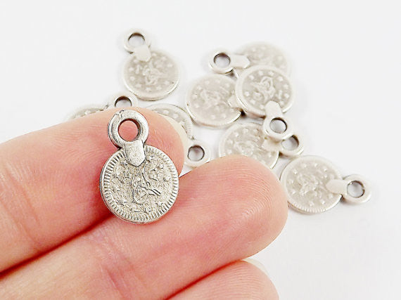 10 Mini Chunky Round Coin Charms - Matte Antique Silver Plated