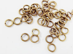 50 pcs - 5mm Antique Bronze Plated Brass Jump Rings