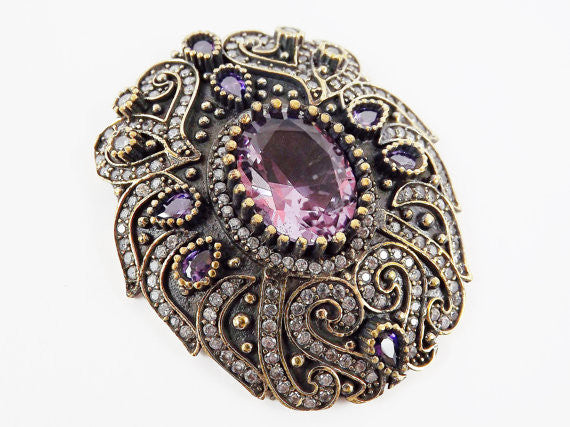 Large Purple Clear Rhinestone Crystal Pendant - Antique Bronze - 1PC - No:3