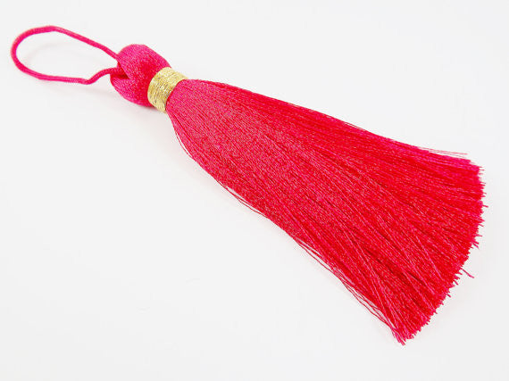 Extra Large Thick Raspberry Red Thread Tassels - Gold Metallic Band - 4.4 inches - 113mm - 1 pc
