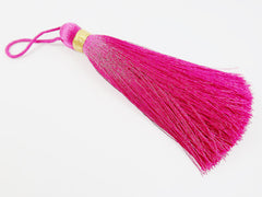 Extra Large Thick Violet Pink Thread Tassels - Gold Metallic Band - 4.4 inches - 113mm - 1 pc