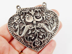 Large Heart Shield Pendant Connector - Matte Antique Silver Plated - 1PC