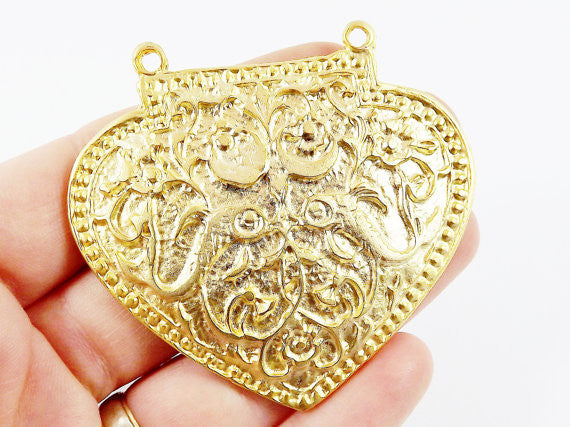 Large Heart Shield Pendant Connector 22k Matte Gold Plated - 1PC