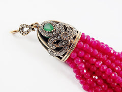 Large Long Fuschia Raspberry Pink Facet Cut Jade Stone Beaded Tassel with Red Clear Crystal Accents - Antique Bronze - 1PC