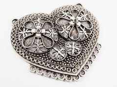 Large Folk Style Heart Pendant Connector with 13 Loops - Matte Antique Silver Plated - 1PC