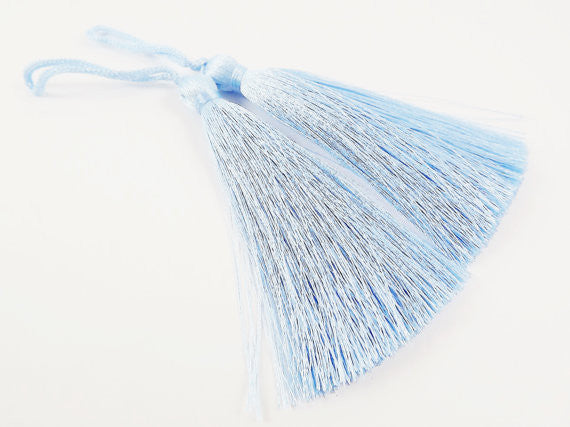 Long Baby Blue Silk Thread Tassels - 3 inches - 77mm - 2 pc