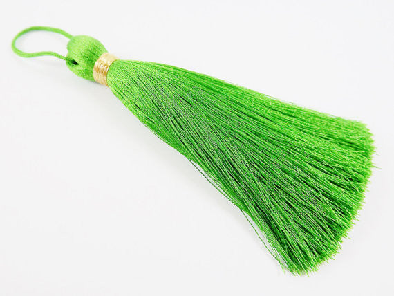 Extra Large Thick Forest Green Thread Tassels - Gold Metallic Band - 4.4 inches - 113mm - 1 pc