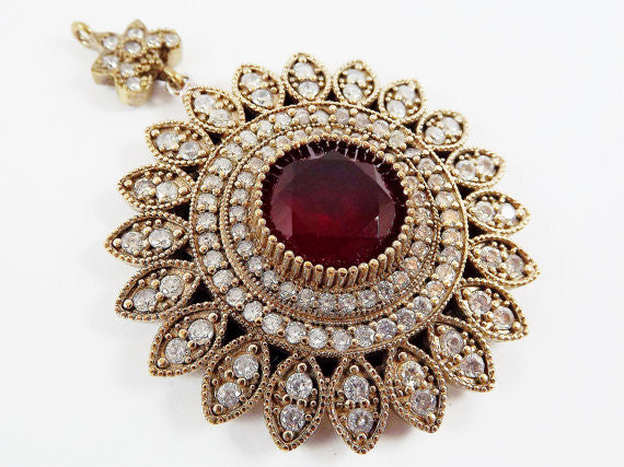 Large Round Flower Shaped Red & Clear Rhinestone Crystal Pendant - Antique Bronze - 1PC