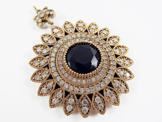 Large Round Flower Shaped Navy Blue & Clear Rhinestone Crystal Pendant - Antique Bronze - 1PC