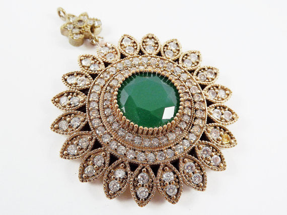 Large Round Flower Shaped Green & Clear Rhinestone Crystal Pendant - Antique Bronze - 1PC