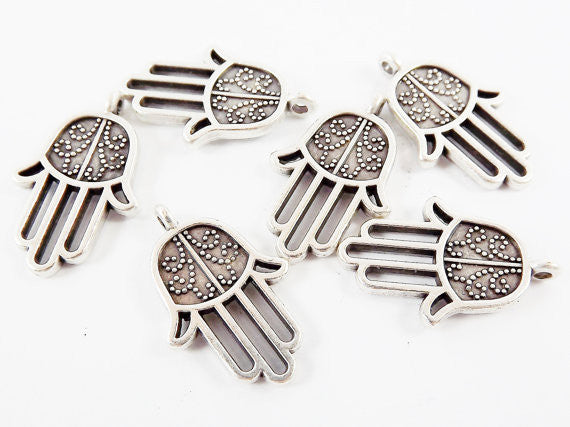 6 Dotted Curl Hamsa Hand of Fatima Hamsa Charms - Matte Antique Silver Plated
