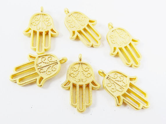 6 Dotted Curl Hamsa Hand of Fatima Hamsa Charms - 22k Matte Gold Plated