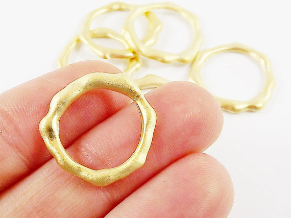 6 Organic Shaped Ring Closed Loop Circle Pendant Connector - 22k Matte Gold Plated - 6 PC
