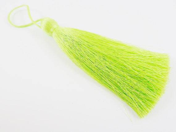 Extra Large Thick Bright Spring Green Thread Tassels - 4.4 inches - 113mm - 1 pc