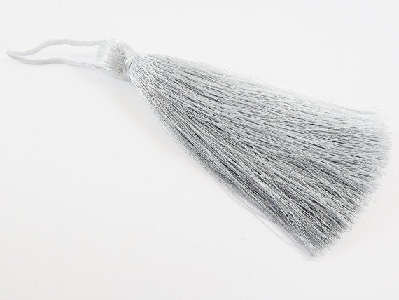 Extra Large Thick Light Gray Silk Thread Tassels - 4.4 inches - 113mm - 1 pc