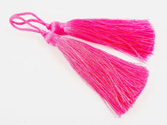Long Bright Candy Pink Silk Thread Tassels - 3 inches - 77mm - 2 pc