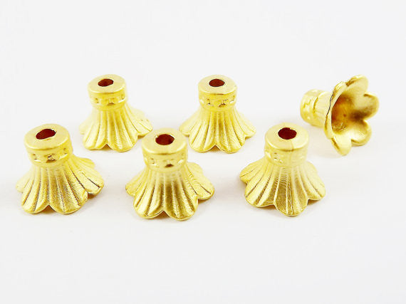 NEW - 6 Rustic Fluted 22k Matte Gold Plated Round Beadcaps