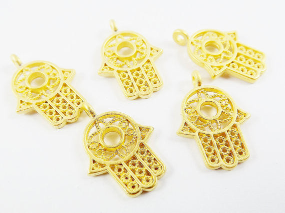 5 Small Filigree Hamsa Hand of Fatima Pendant Charms with Circle - 22k Matte Gold Plated
