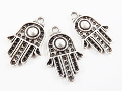 3 Medium Hand of Fatima Hamsa Charms with Dome - Matte Silver Plated
