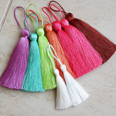 Extra Large Thick Virtual Pink Silk Thread Tassels - 4.4 inches - 113mm - 1 pc