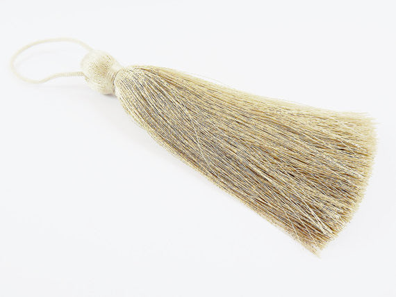 Extra Large Thick Antique Beige Silk Thread Tassels - 4.4 inches - 113mm - 1 pc