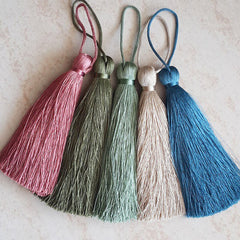 Extra Large Thick Light Olive Green Silk Thread Tassels - 4.4 inches - 113mm - 1 pc