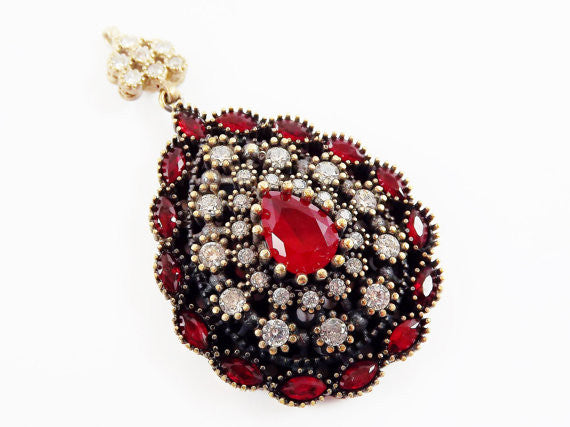 Large Red Teardrop Clear Rhinestone Crystal Pendant - Antique Bronze - 1PC