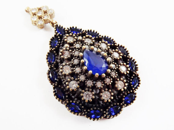 Large Blue Teardrop Clear Rhinestone Crystal Pendant - Antique Bronze - 1PC