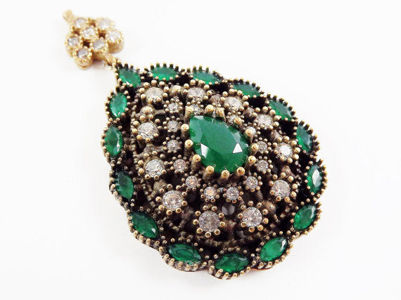 Large Green Teardrop Clear Rhinestone Crystal Pendant - Antique Bronze - 1PC