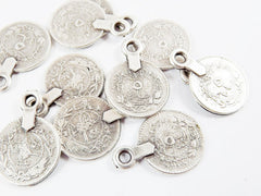 10 NEW Large Rustic Round Coin Charms - Style 2 - Matte Antique Silver Plated