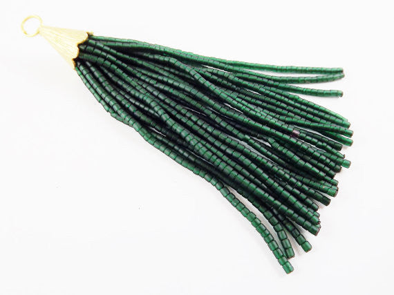 Deep Transparent Green Afghan Tibetan Heishi Tube Beaded Tassel - Handmade - Textured 22k Matte Gold Plated Cap - 92mm = 3.62inches -1PC