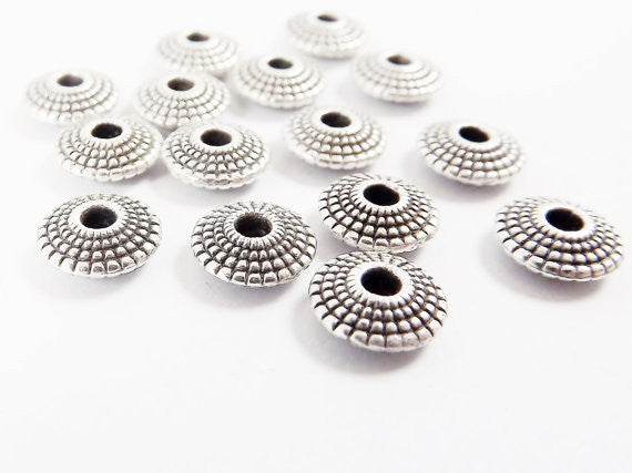 15 Dotted UFO Saucer Bead Spacers - Matte Silver Plated