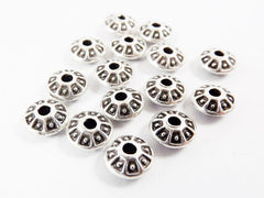 15 UFO Saucer Bead Spacers - Matte Silver Plated
