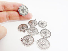 20mm Round Coin Charms - Matte Antique Silver Plated - 8pcs