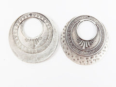 2 Large Round Art Deco Circle Style Pendants - Matte Antique Silver Plated
