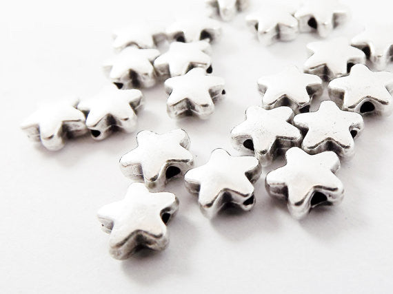 20 Star Bead Spacers - Matte Antique Silver Plated