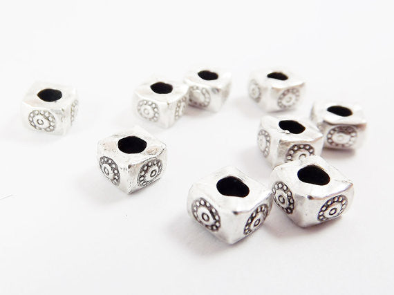 10 Chunky Square Flower Stamped Beads - Matte Antique Silver Plated Brass