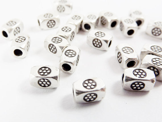 20 Chunky Rectangle Flower Stamped Beads - Matte Antique Silver Plated Brass