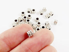 30 Hammered Barrel Beads Spacers - Matte Antique Silver Plated