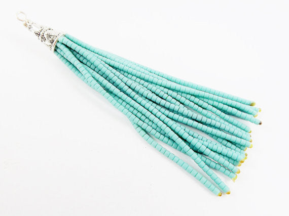 NEW Plain Turquoise Afghan Tibetan Heishi Tube Beaded Tassel - Handmade - Tibetan Style Shiny Silver Plated Cap - 87mm 1PC
