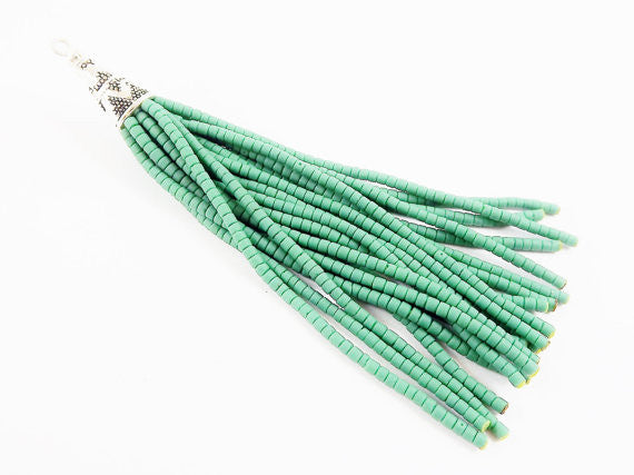 NEW Marine Green Afghan Tibetan Heishi Tube Beaded Tassel - Handmade - Tibetan Style Shiny Silver Plated Cap - 87mm 1PC